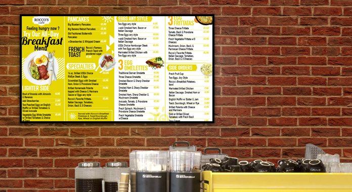 Digital Signage Breakfast Menu Boards from DSMenu