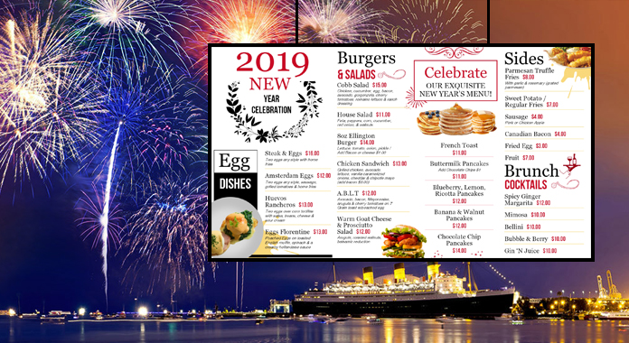 Happy New Year 2019 Special Digital Signage Menu Boards from DSMenu
