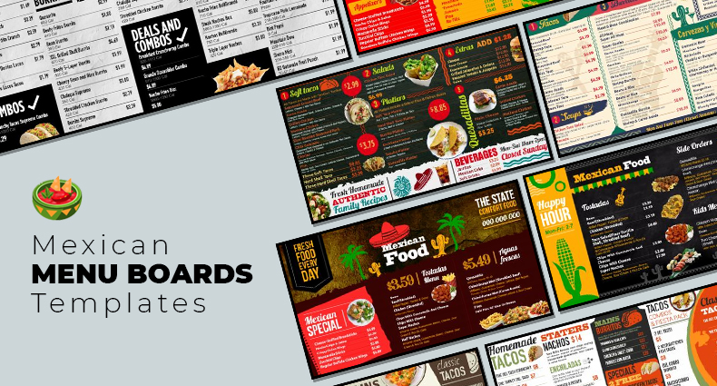 Mexican Cuisine digital signage menu board from DSMenu