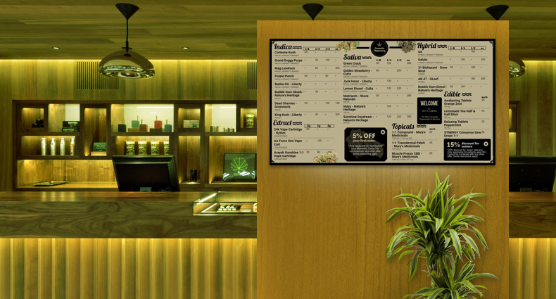 Medicinal Marijuan menu board from DSMenu