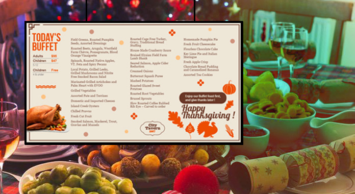Thanksgiving Day Special Digital Signage Menu Boards from DSMenu