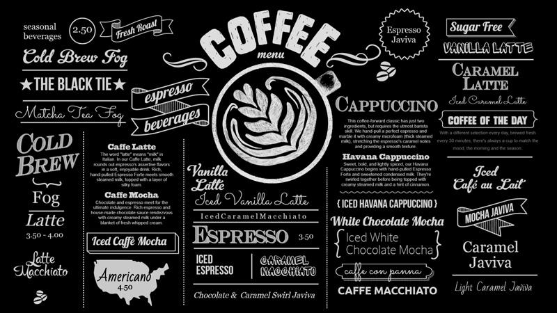 Best Coffee menu for Digital Signage from DSMenu