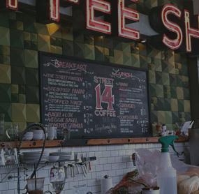 Digital menu boards for coffee shops