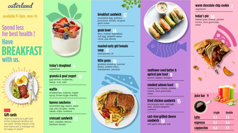 Beautiful Breakfast menu