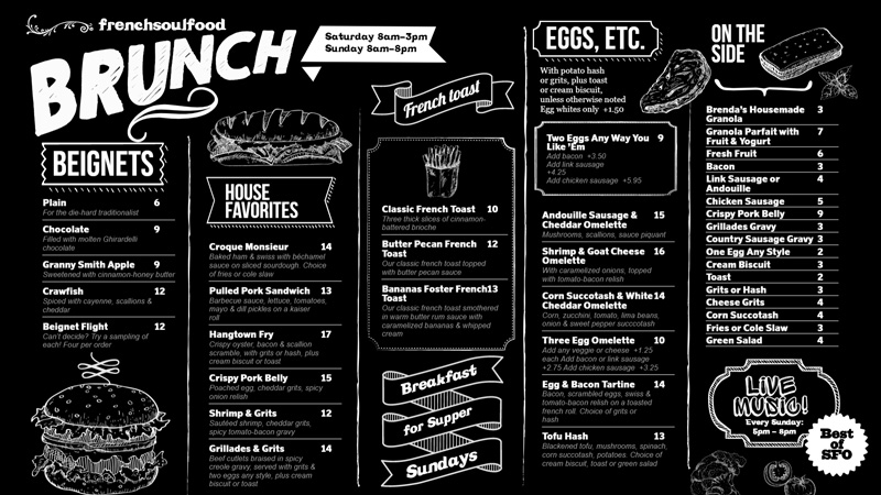 Black brunch menu for restaurants.