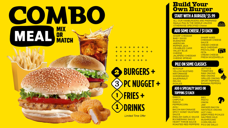 Best combo meal signage menu design for your restaurant.