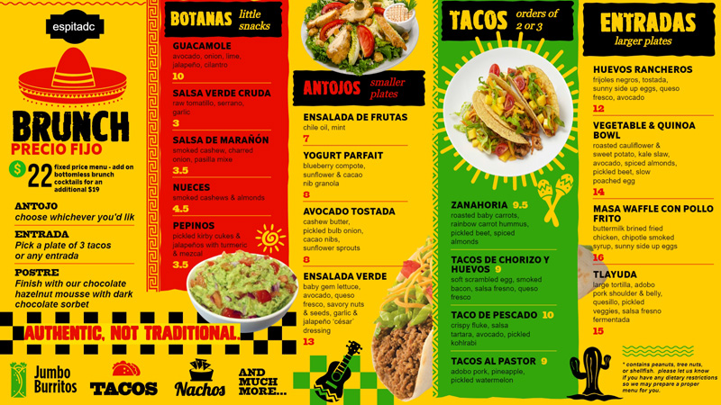 Download free bright Mexican brunch menu for digital signage.
