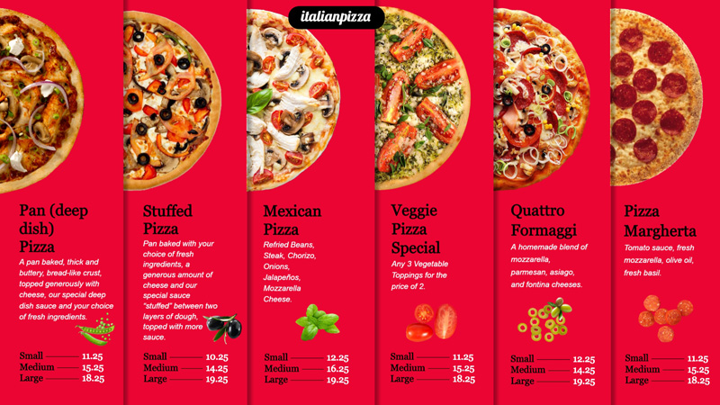 Wonderful pizza menu for digital signage.