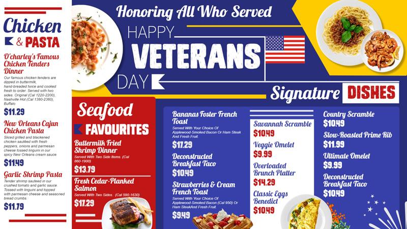 Happy Veterans day signage menu