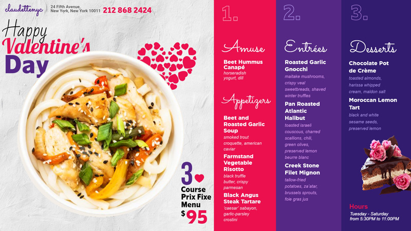 Happy Valentine's day menu for digital signage for restaurants.
