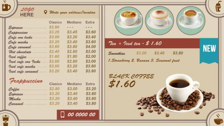 Coffee menu design | Digital Signage Template