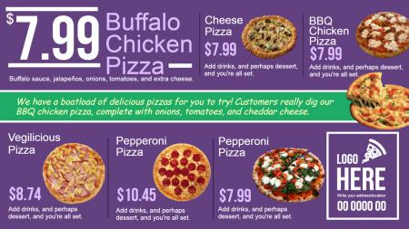 Pizza menu boards | Digital Signage Template