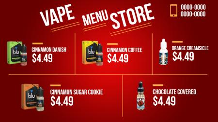 vapor menu board | Digital Signage Template