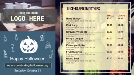 Juice bar menu boards | Digital Signage Template