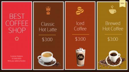 Coffee menu | Digital Signage Template