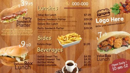 Bistro grill menu | Digital Signage Template