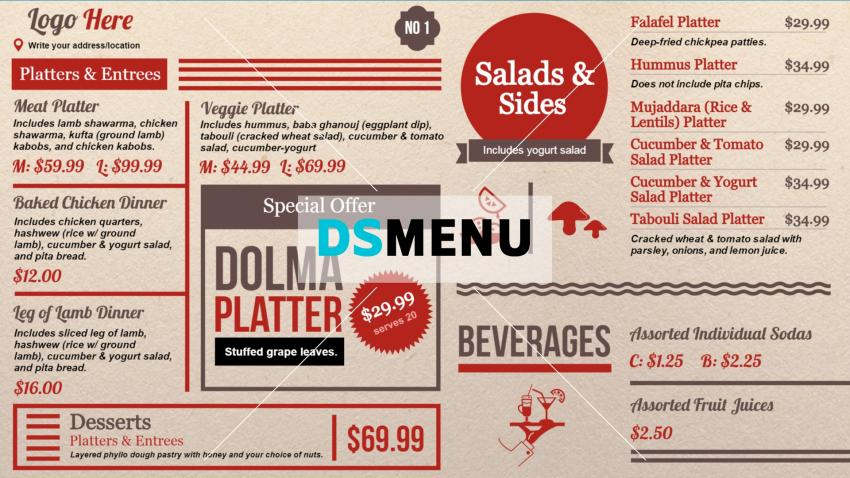 a bi color deli menu board template with lots of texts and some unique food icons in between to grab customer attention special offers gets a prominent