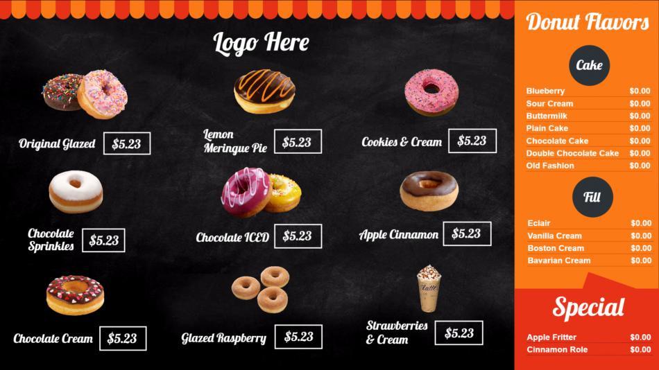 Custom Digital Menu Boards For Restaurant Cafe QSR Fast Food - Restaurant menu board templates