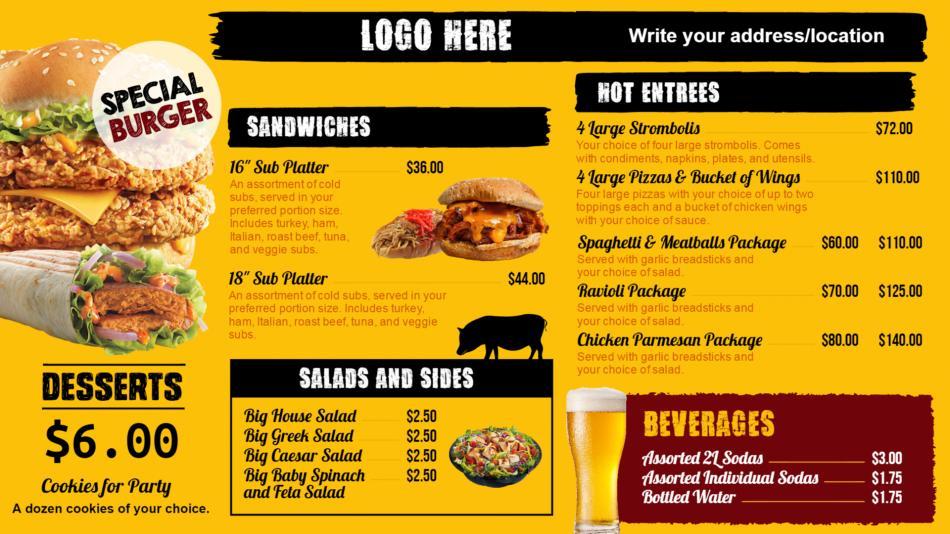 Restaurant Menu Templates Digital Menu Board For Restaurant - Restaurant menu board templates