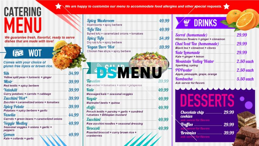 Catering menu boards designed by DSMenu