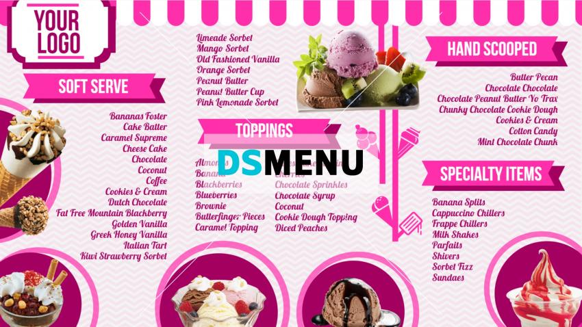 Ice cream parlor menuboard