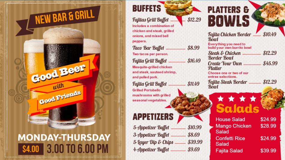 Bistro grill menu on retro theme designed by DSMenu