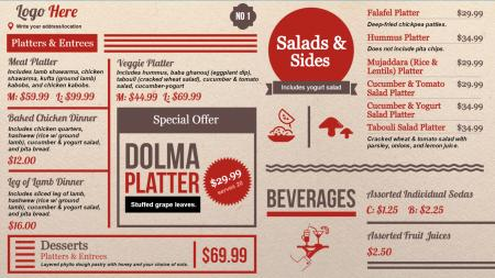 deli menu boards | Digital Signage Template