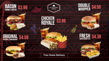 Burger menu board | Digital Signage Template