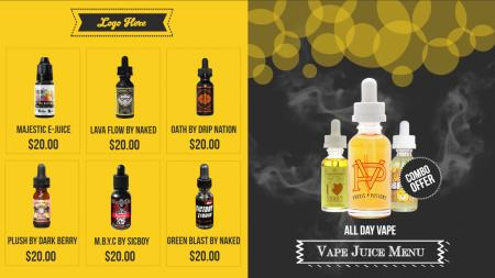 vape menu boards | Digital Signage Template