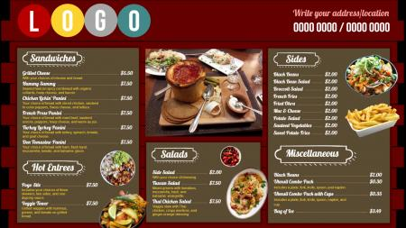 Fast food restaurants menu | Digital Signage Template