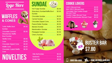Ice cream parlour menu | Digital Signage Template
