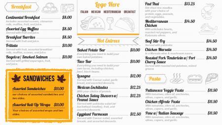 Catering menu boards Design