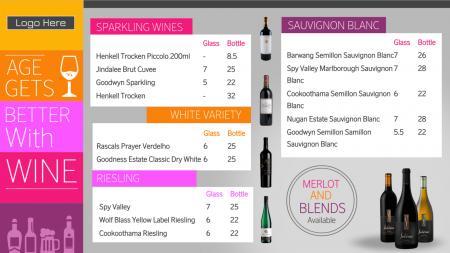 Wine menu | Digital Signage Template