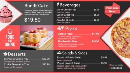 pizza menu | Digital Signage Template