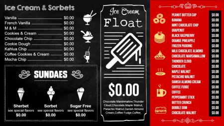 Ice cream shop menu board Design