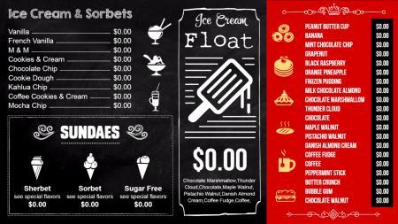 Ice cream shop menu board   Digital Signage Template