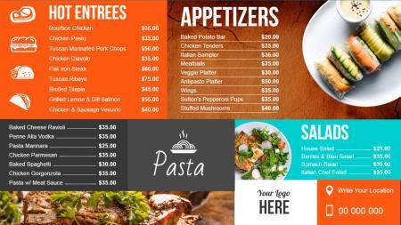 Restaurant Digital Signage Menu Board Design from DSMenu