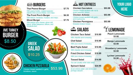 Catering menu boards | Digital Signage Template