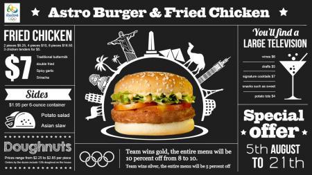 olympic chalk menu board | Digital Signage Template