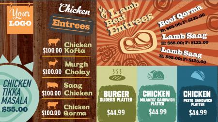 Catering menu boards | Digital Signage Template