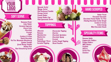 Ice cream shop menu board | Digital Signage Template