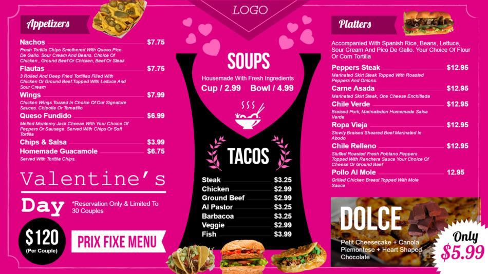 Download free Mexican Restaurant menu design for Valentine's Day