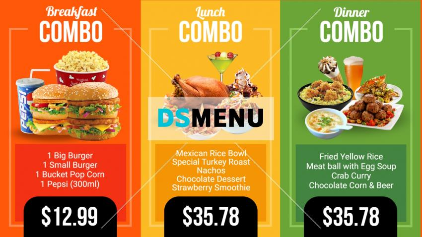 Bright restaurant menu for digital signage