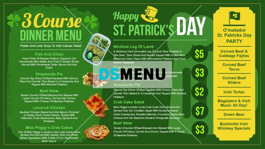 Green Saint Patrick's Day signage menu for restaurants