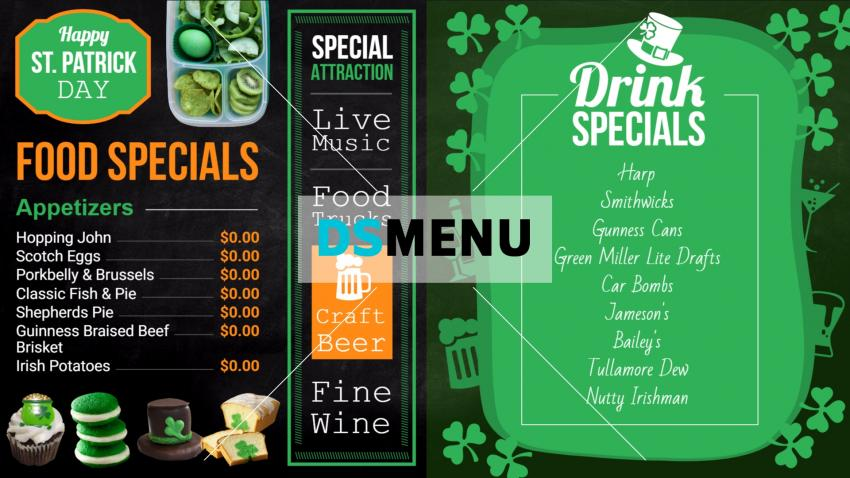 Bar and grill menu templates for digital signage for restaurants