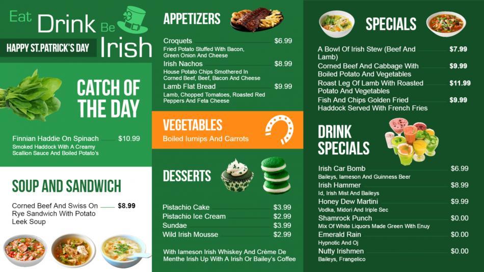 Irish Restaurant menu templates for digital signage