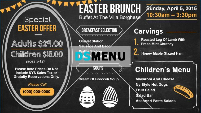 Easter Brunch Chalkboard Menu for Digital Signage
