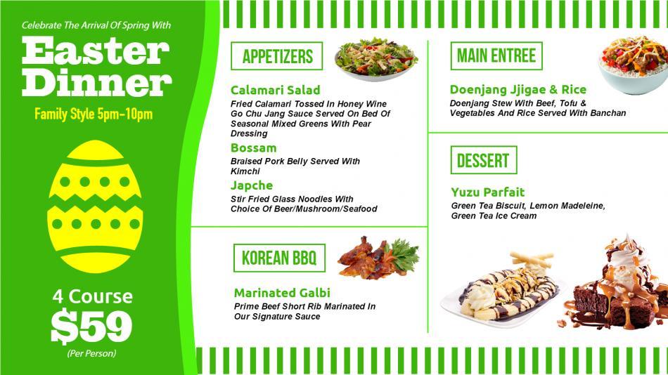 Easter menu board for digital signage