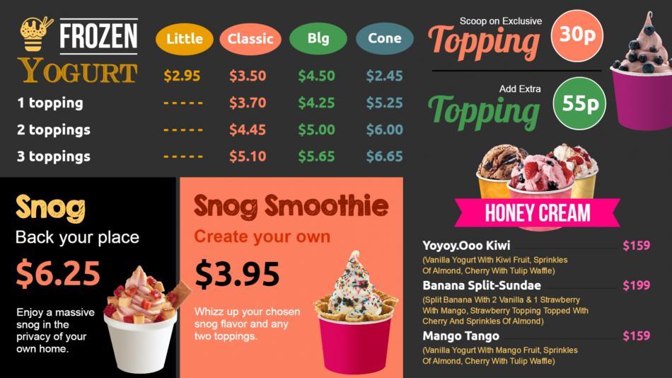 Yogurt menu for digital signage for restaurants
