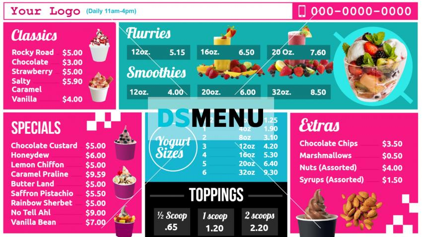 Download free yogurt menu template for restaurant